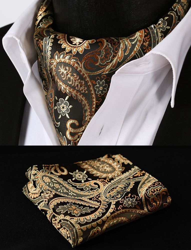 835d3f38f575 Mens Gold Brown Wedding Paisley Black Silk Bow Tie Floral Ascot Cravat Hanky  | eBay