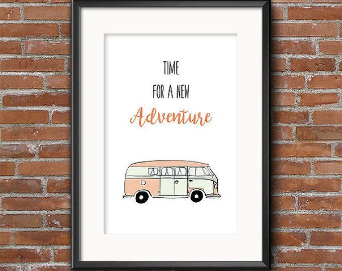 Zeit für ein neues Abenteuer - Volkswagen Camper Van Print