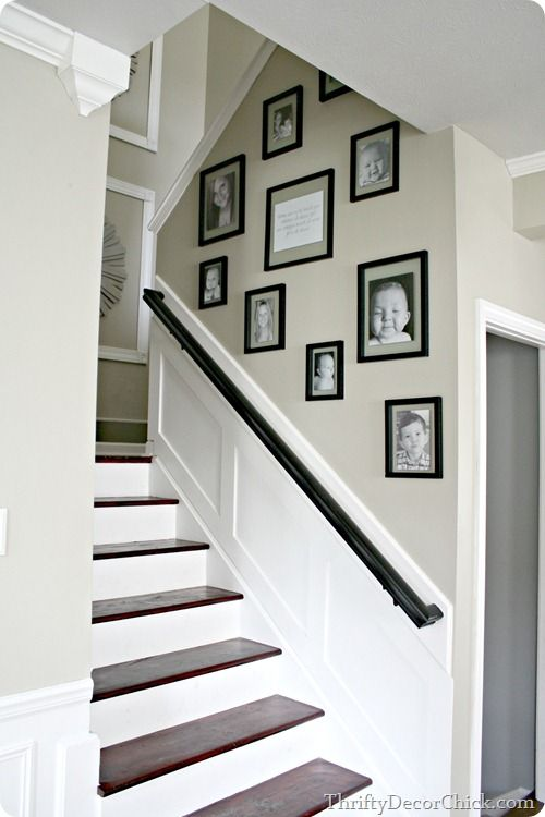 Chair Rail Going Up Staircase Part - 46: Add Picture Frame Moulding On Landing - Dress Up And Lighten Up The Stairway