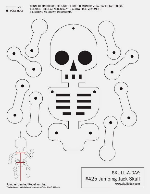 Happy Skull Appreciation Day! Free template for a jumping