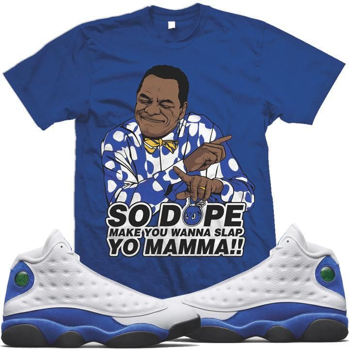 019853ecd1c4fe Jordan 13 Hyper Royal Sneaker Tee Shirt to match made by MDM Clothing. Shirt  is made out of pre-shrunk cotton and fits true to size.