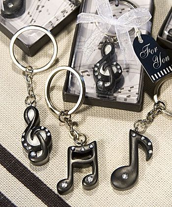 "Sue, possible favors for bridal shower ""Music Note Key Chain Favors"""