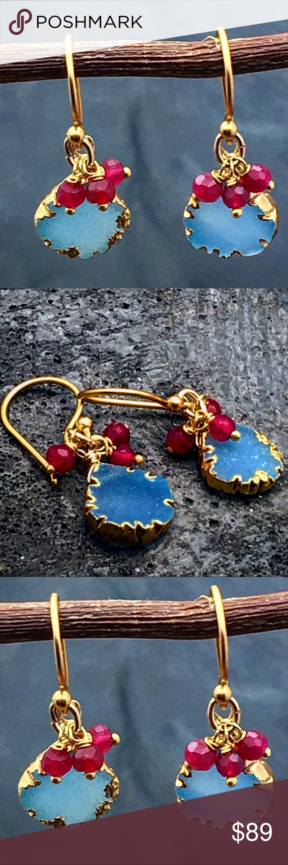"""4rth of July flash sale blue Druzy & ruby earrings Special 4rh of July sale. These are ABSOLUTELY Gorgeous❣like a blue lagoon. Accent with fuchsia rubies and surrounded with a gold halo, these blue Druzy earrings are so delicate yet mesmerizing and are bound to gain many complements. Dress them down with denim and any casual or Boho style. Wear them to the office or to a night out. They will work with anything. Overall length about 1.10"""". Matana Jewelry Earrings"""
