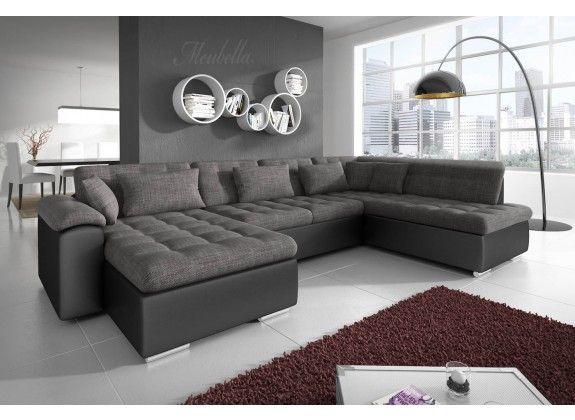 Lounge Hoekbank Antraciet.Hoekbank Nicoreta Antraciet Zwart Links Leer Stof