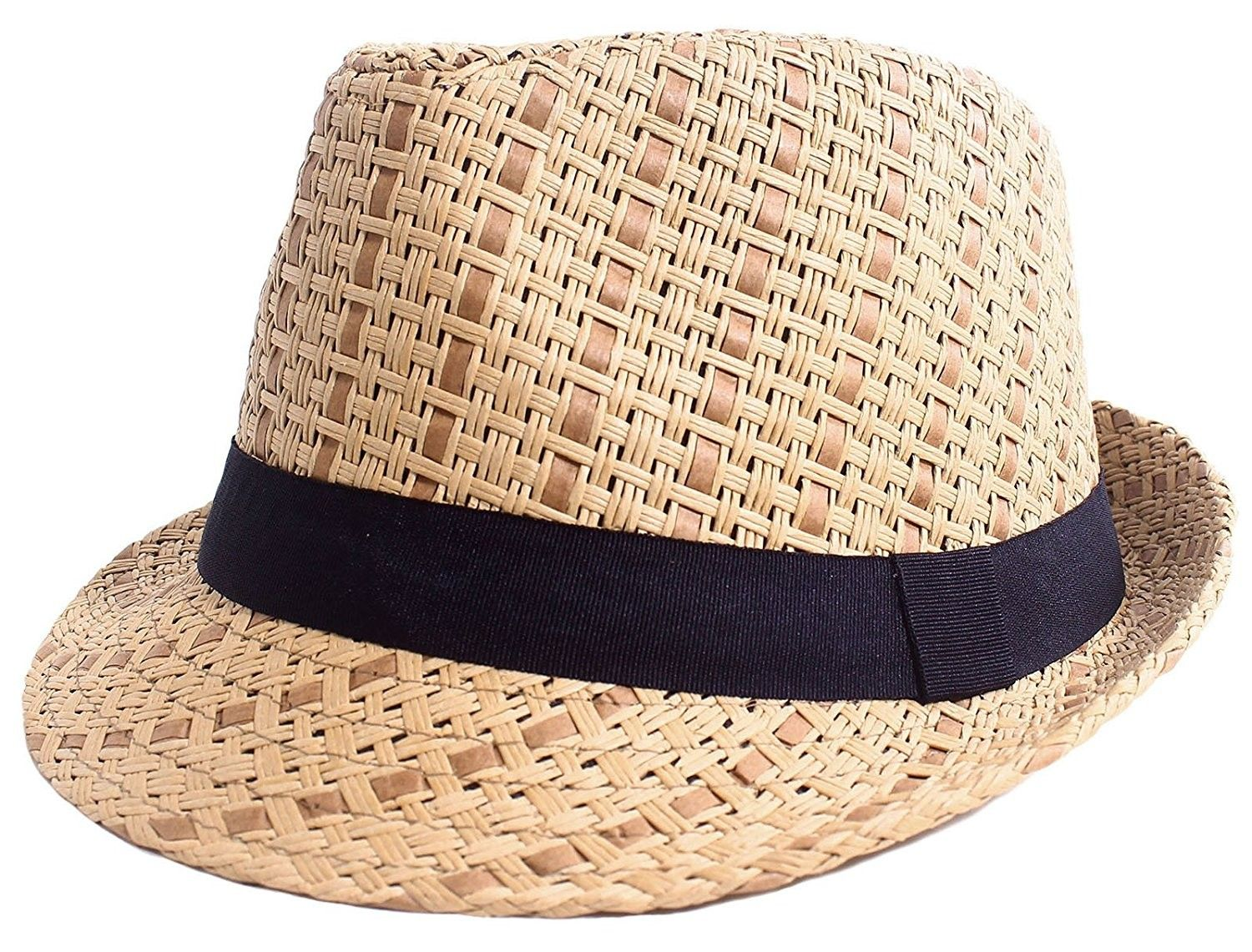 72748103403c9 Straw Fedora Hat Men   Women s Summer Short Brim Beach Cap with Band -  Brown Hat With Black Band - CV184RN59YD - Hats   Caps