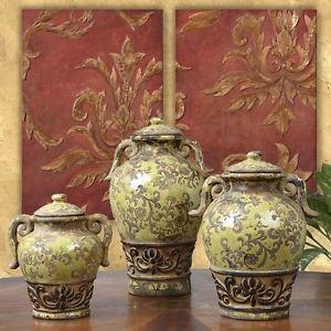 Old World Tuscan Decor French Italian Style Rustic Mediterranean Olive Jar