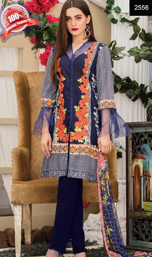 Wyhr 2556 Front Embroidery Designer 3pc Lawn Suit With Net Dupatta