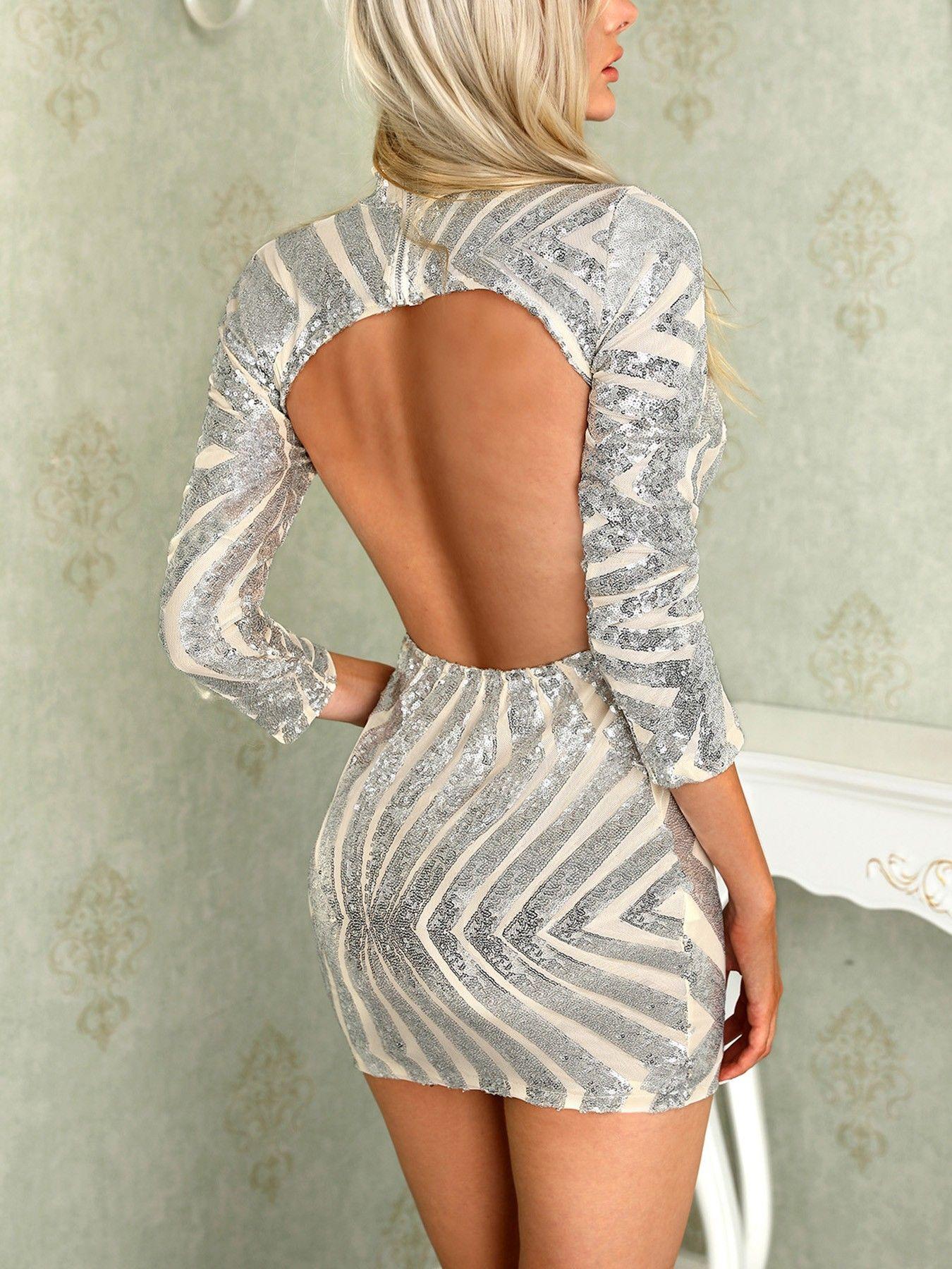 78b97f935b94 Shinny Open Back Long Sleeve Bodycon Mini Dress #fall dresses to wear to a  wedding