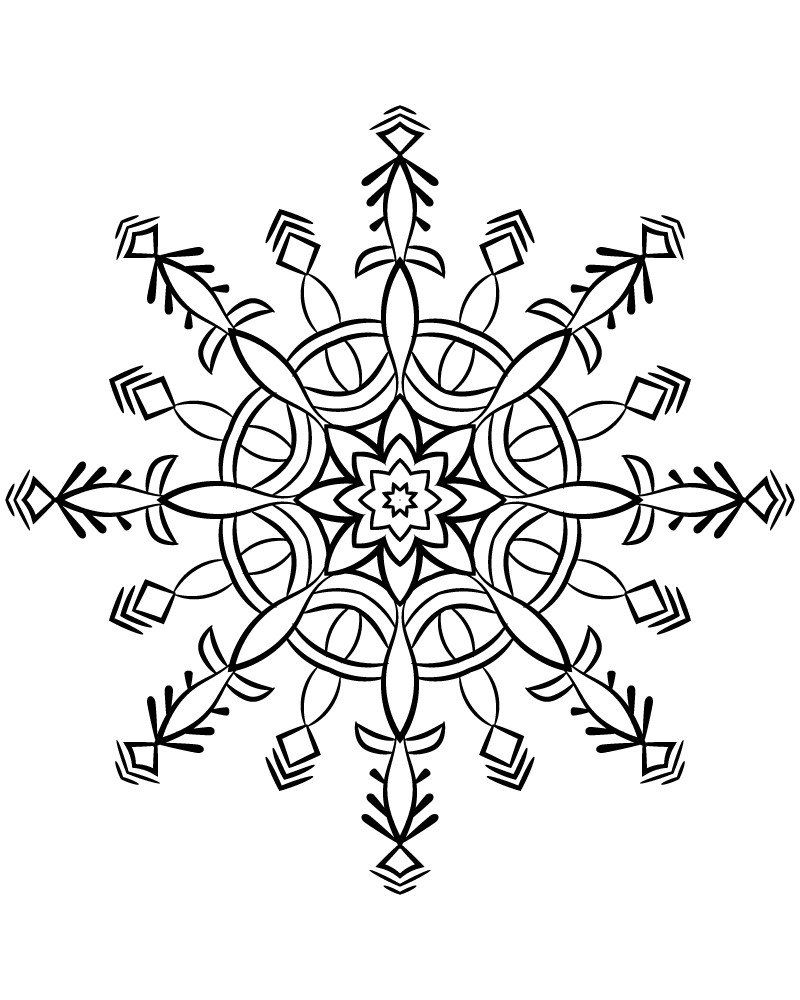 Snowflake Mandala : snowflake, mandala, Snowflake, Mandala, Coloring, Pages, Pages,, Movie