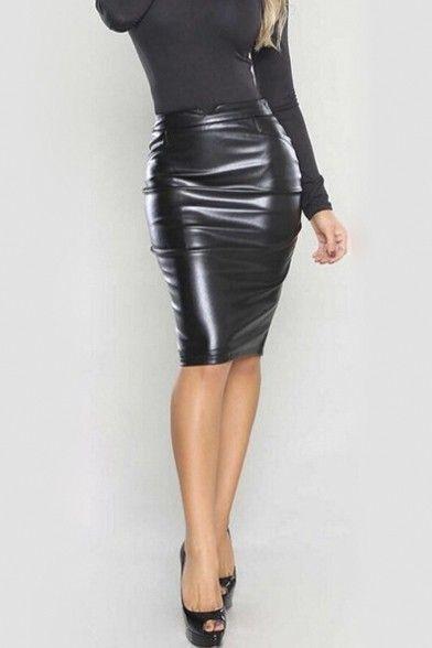 e26e7c5461 Women Slim Fit Faux Leather Pencil Midi Skirt in 2019 | Latex ...