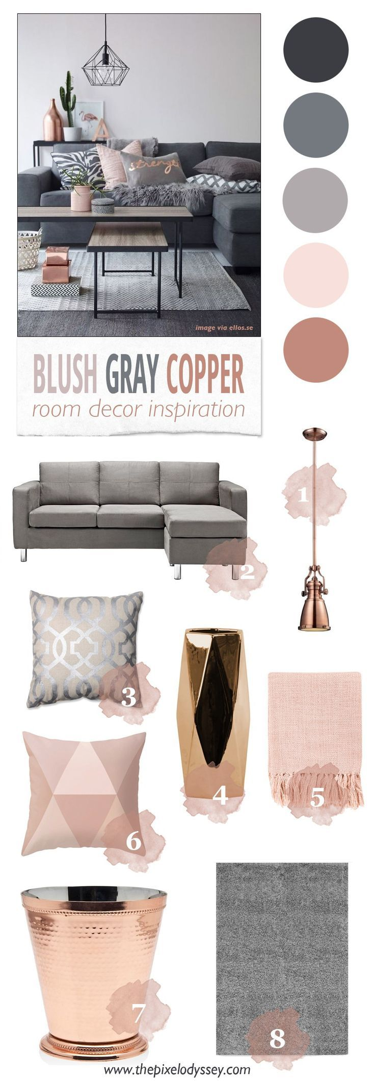 Blush gray copper room decor inspiration copper gray for Living room ideas rose gold