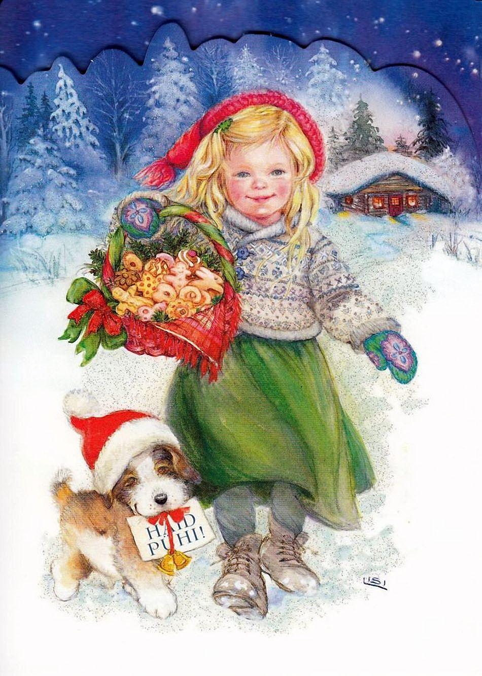 Надписью, открытки рождество дети