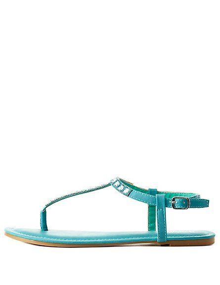 783a75cfbf720 Rhinestone-Embellished T-Strap Thong Sandals  Charlotte Russe  CRshoecloset   sandals