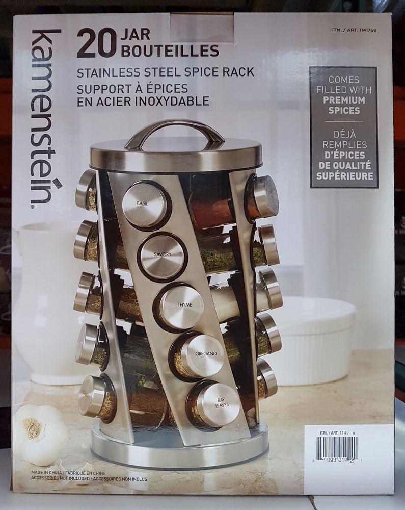E Rack 20 Jar Twist Spin Kamenstein Stainless Steel