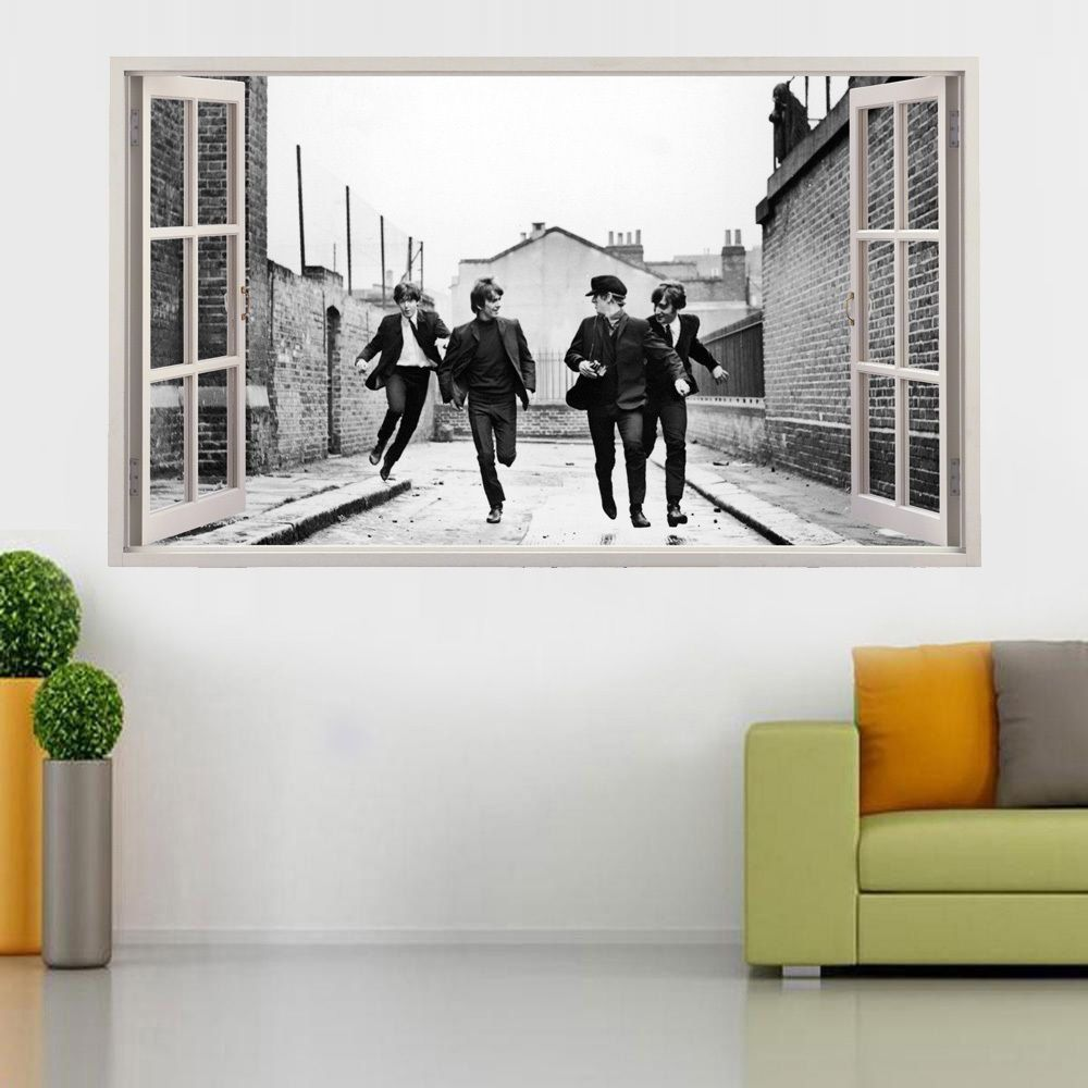 the beatles vinyl poster open window broken wall decal 3d wall art stickers in home furniture. Black Bedroom Furniture Sets. Home Design Ideas