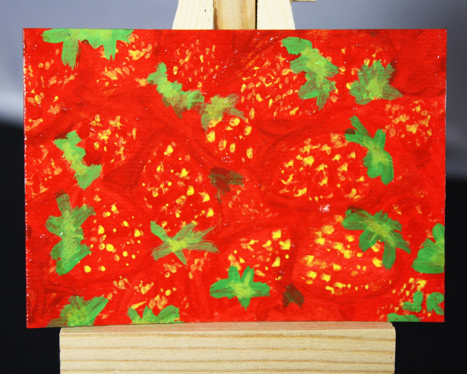 Original Acrylic ACEO Painting of A Bunch of Strawberries by JulibeeKitsch on Etsy for $12