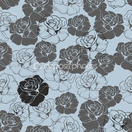 Seamless vector blue floral pattern with grey, navy blue ...