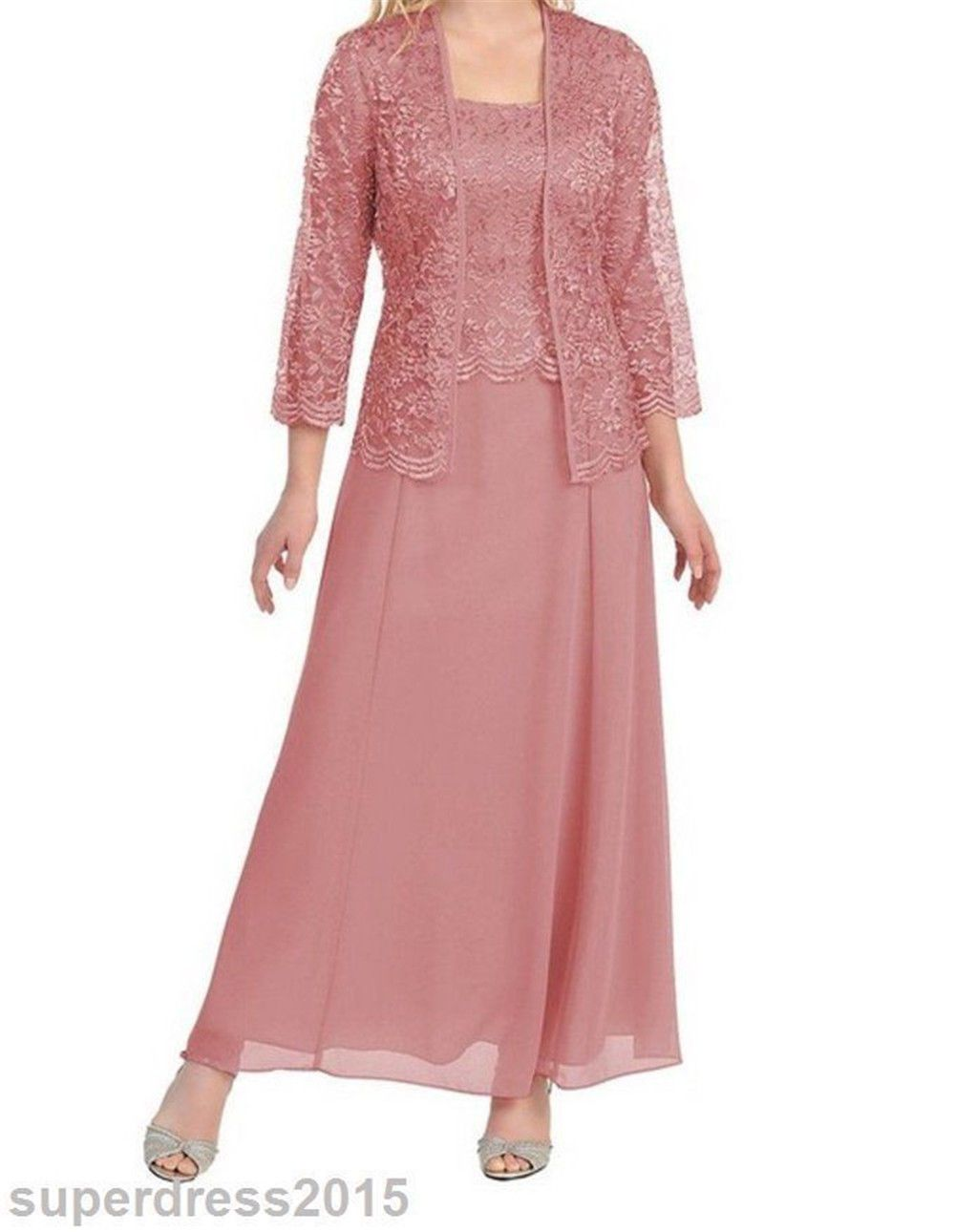Mother of the groom dresses afternoon wedding  Plus Size Long Lace Mother of The Bride Dress Formal Chiffon Evening