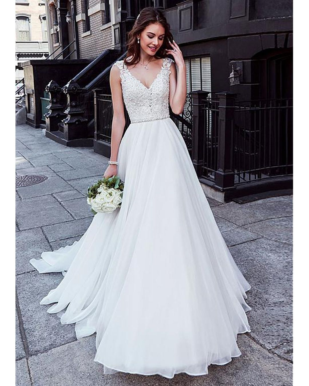 » Charming Tulle & Chiffon V-neck Neckline Natural Waistline A-line Wedding Dress With Beaded Lace Appliques
