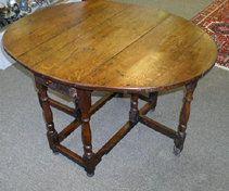 Late 17th/Early 18th Century English oak one-drawer tavern gate-leg table  $2,495.00  http://www.broadstreetantiquemall.com/
