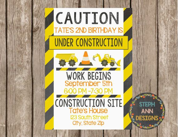 Construction Birthday Invitation-Digital File by StephAnnDesigns