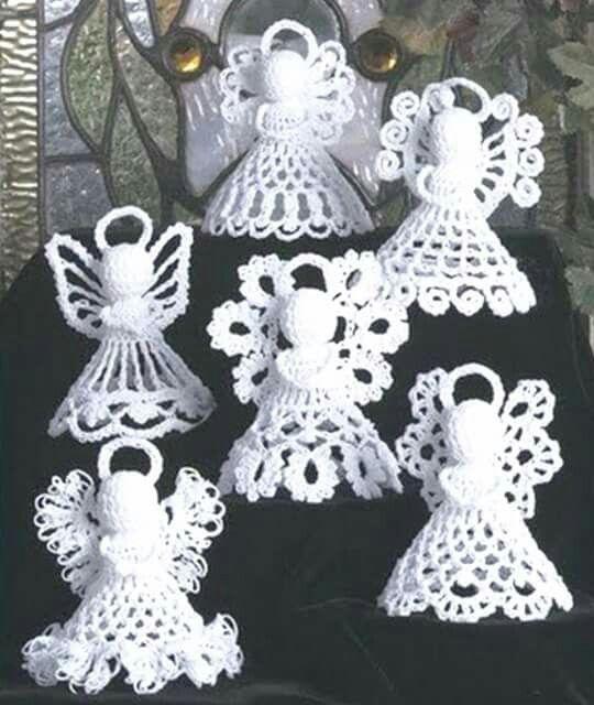 Anjinhos brancos | Christmas | Pinterest | Crochet, Crochet angels e ...