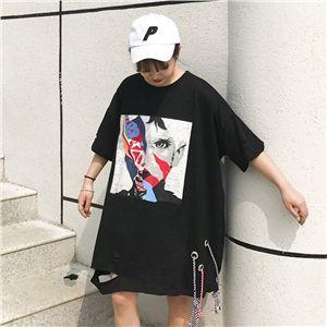8d7816e440997 夏服 2017 レディース 春夏 半袖 Tシャツ 個性的 奇抜 POP 原宿系 ファッション 個性 派手 カワ 青文字系 トップス