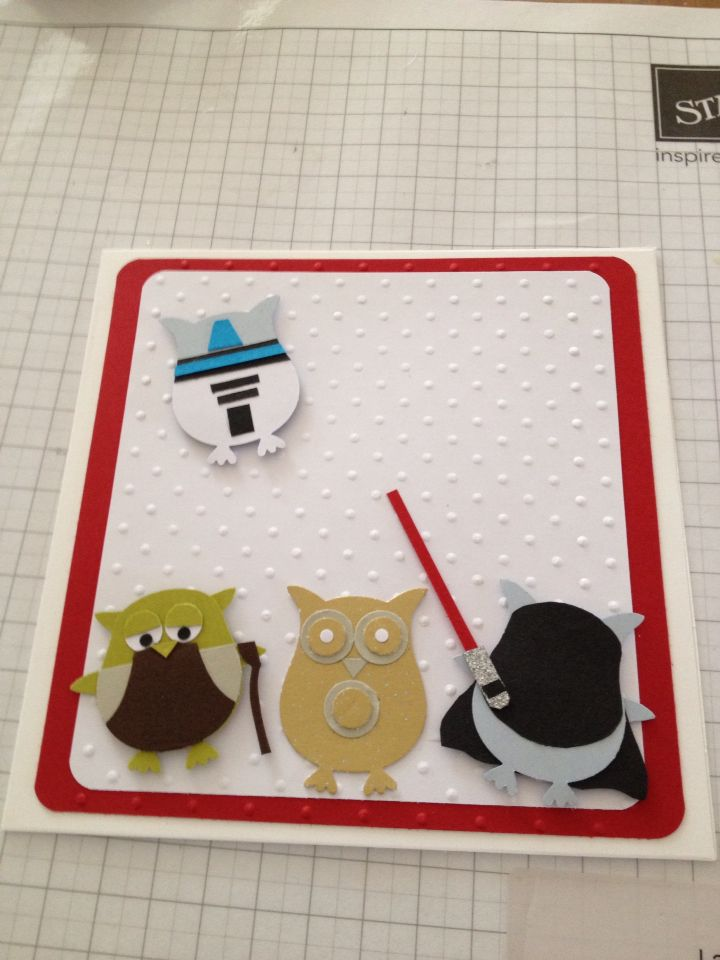 star wars stampin up owl punch card  punch art cards