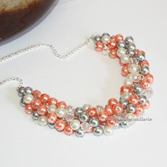 Coral and Grey  by Maria on Etsy
