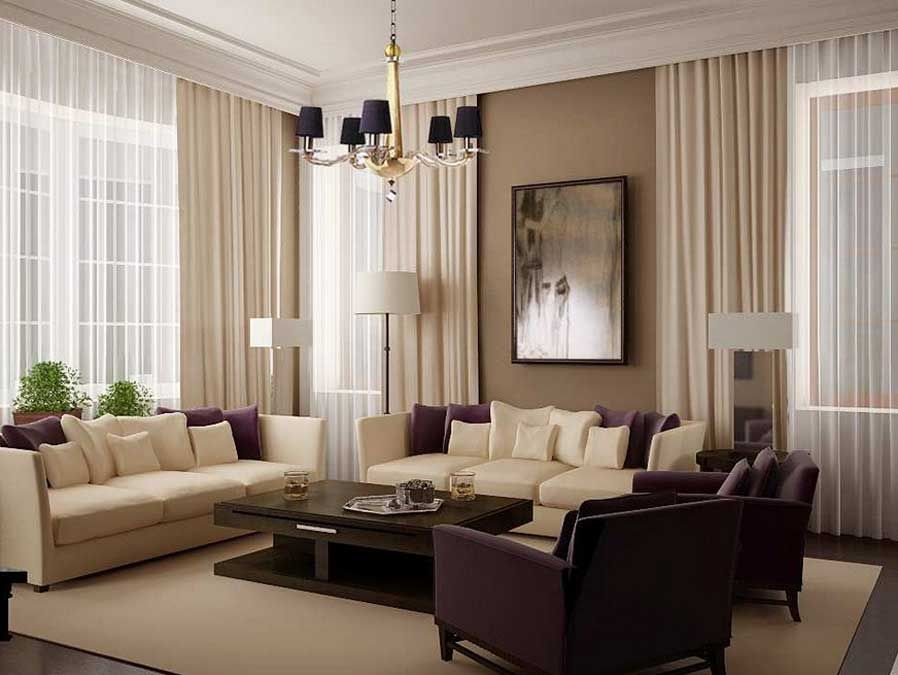Elegant Beige Or Purple Living Room Design Ideas With Beige Wall Paint Combined  With Decorating Curtains, Part 5