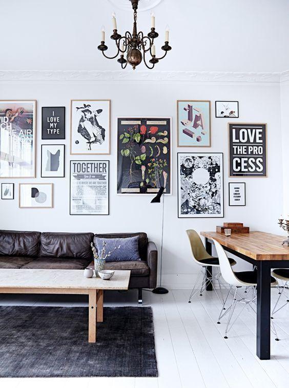 D co mur blanc 10 id es originales pour habiller vos murs mur de cadres deco mur deco et - 4 astuces pour decorer un grand salon ...