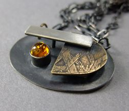 Thomasin Durgin, sterling silver, etched brass, amber necklace