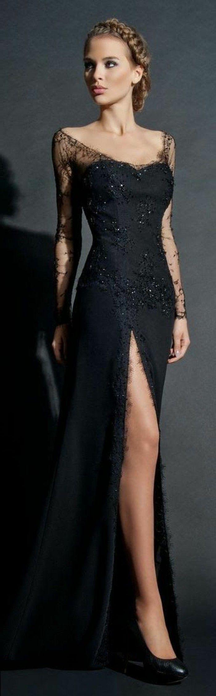 festliche kleidung schwarzes aberndkleid mit glutzer effekt ...