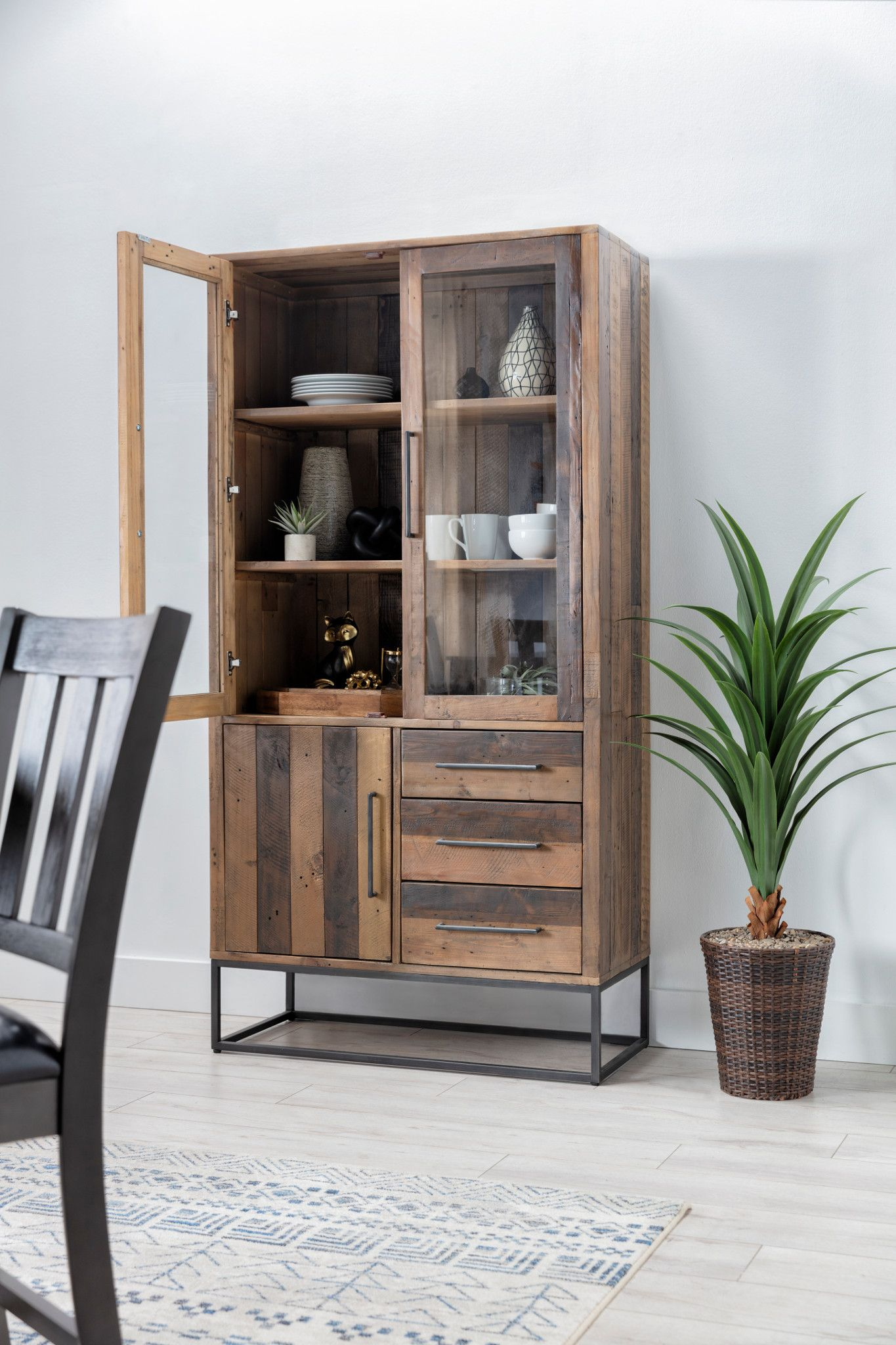 Modern Rustic Curio Furniture Cabinet Rustic Cabinets #rustic #living #room #cabinets