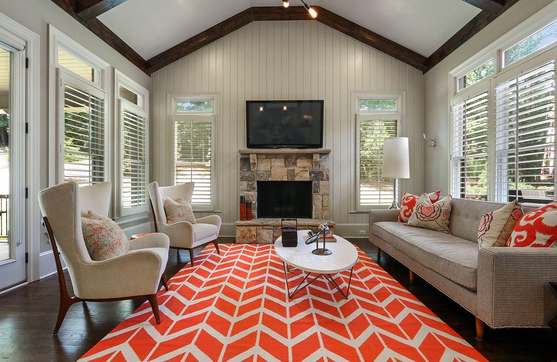 Stylish Dens And Basements. Basement InspirationBasement IdeasRustic  CottageGreat RoomsOrange RugsInterior ...