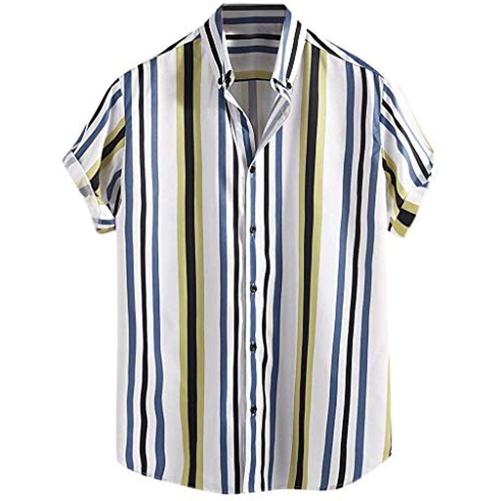Hucodevan Hombre Camisa Hawaiana Raya Tops Solapa Manga Corta Vacaciones Fiesta Playa Sueltas Blusas Vintage Estilo Camisa De Lino Hombre Ropa De Hombre Ropa