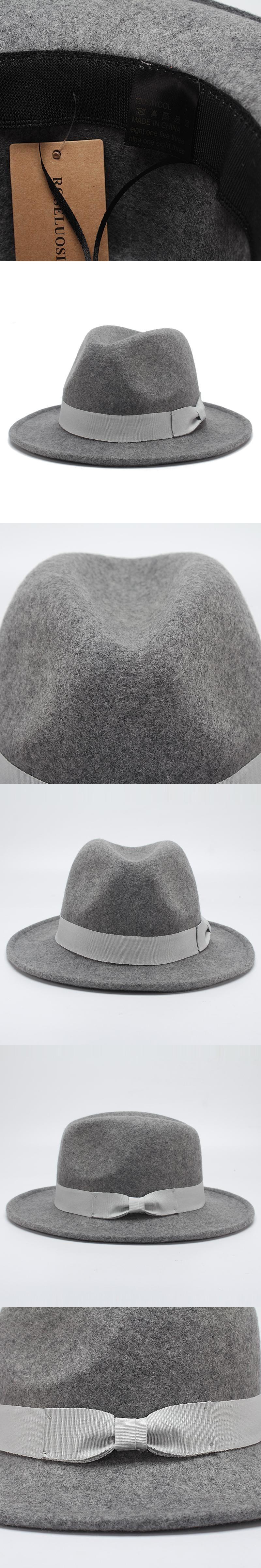 b303b1e9b787e ROSELUOSI Fashion Unisex Fedora Hats 2017 Autumn Winter Wool Panama Hat For Women  Men Casaul Bow