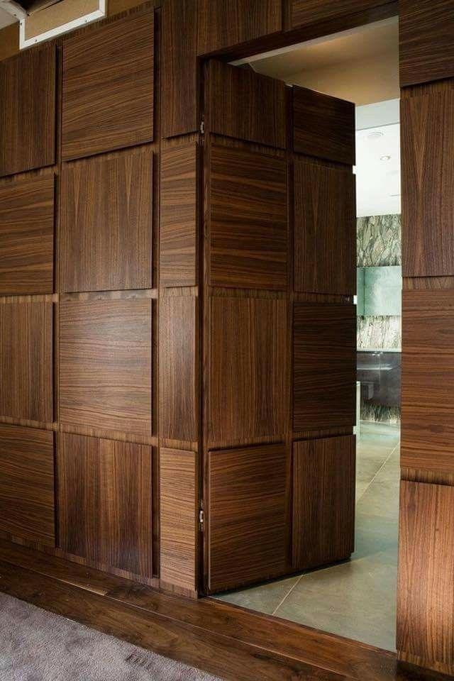 Hidden doors. Love! Wooden door design, Main door design