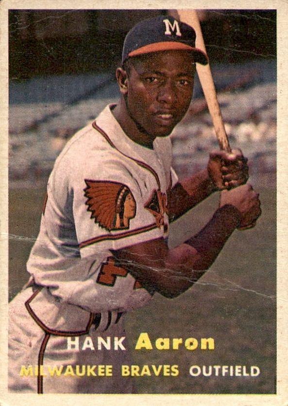 Hank Aaron 1957 Topps 20 Error Card Reversed Negative