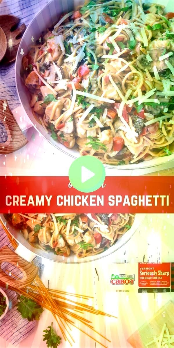 Chicken Spaghetti  one pan endless variations This creamy chicken spaghetti is made in one pan and is endlessly versatile Its a great cleanoutthefridge mealThis creamy ch...