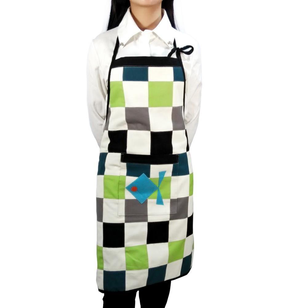 [Little Fish] Patchwork Chef Work Apron Art Works Women Men Apron with Pocket