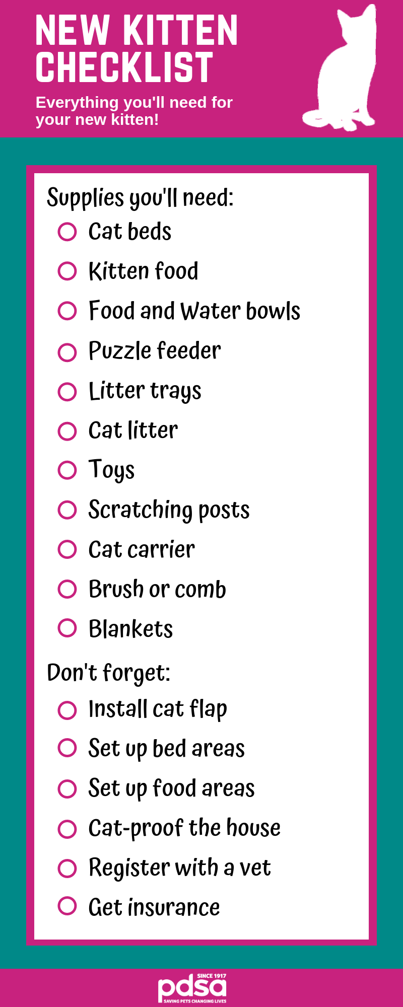 New Kitten Checklist Tips For Owning Young Cats Cpc Cares Blog Cat Checklist Kitten Checklist Pregnant Cat