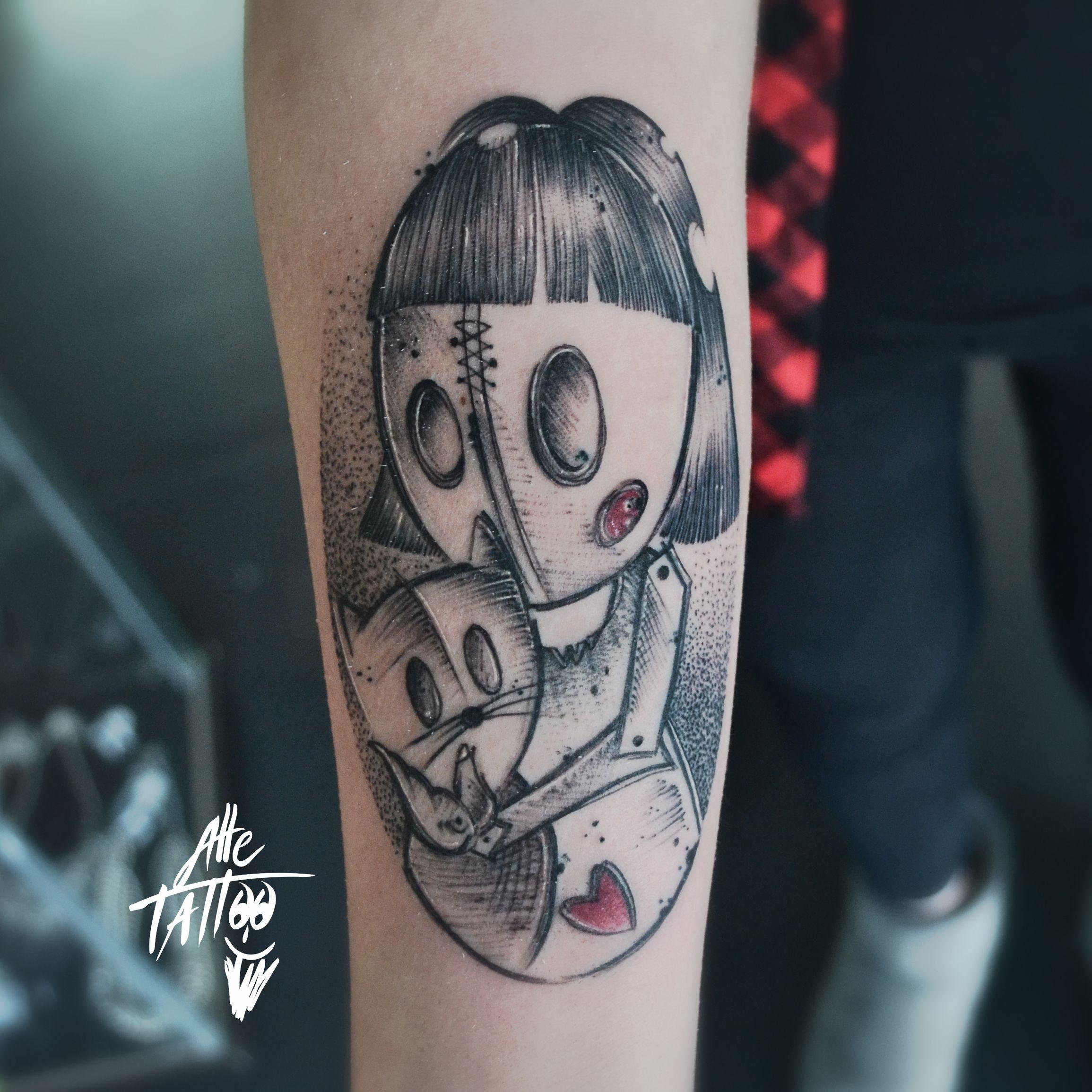 #alletattoo #doll #sketh #bambolina #cat #pet #dotwork #tattoo #tatuaggio