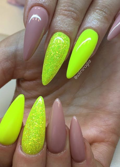 Image Result For Neon Yellow Nails