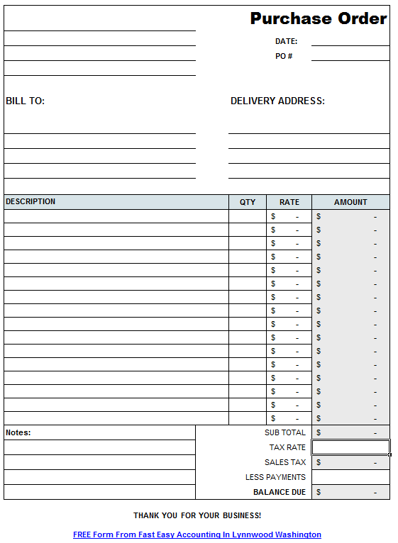 purchase order form templates free download PO – Order Form Template Free