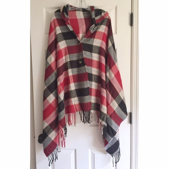 Esprit Plaid Poncho Black and red plaid fleece poncho with front buttons from ASOS. ESPRIT Jackets & Coats