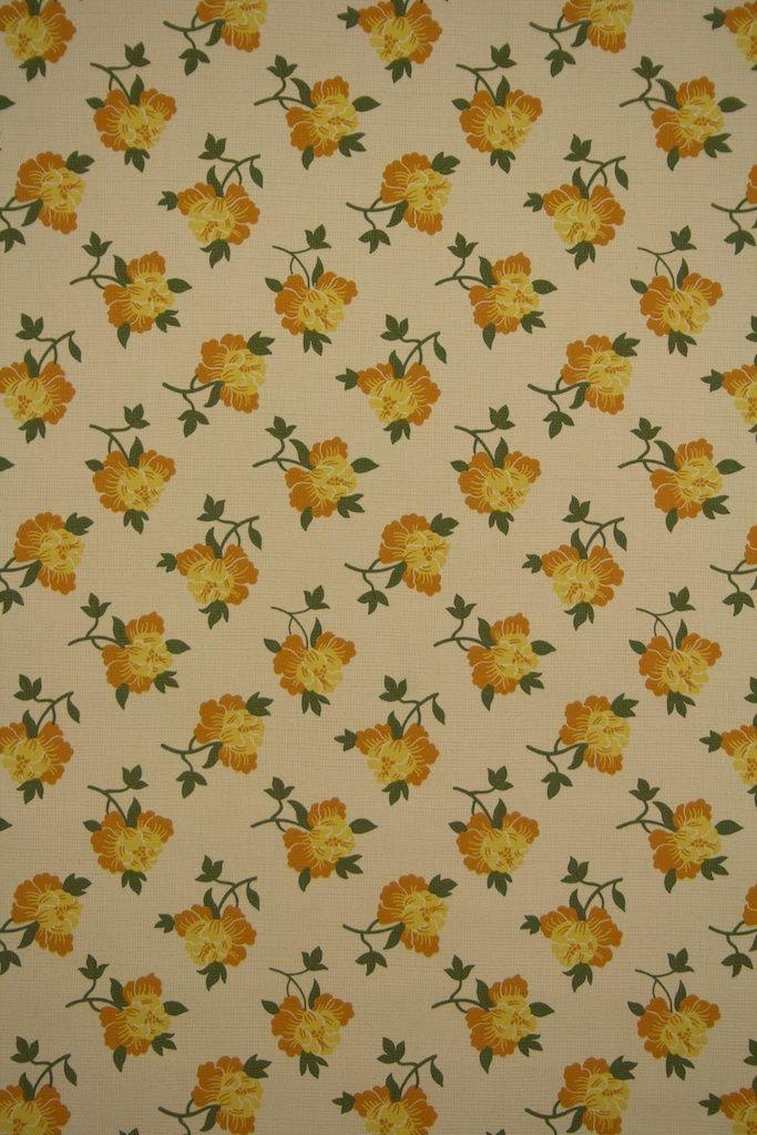 Small Flower Pattern Wallpaper Vintage Floral Wallpaper From The 39 70s With Small Yell Vintage Flowers Wallpaper Vintage Floral Wallpapers Floral Wallpaper