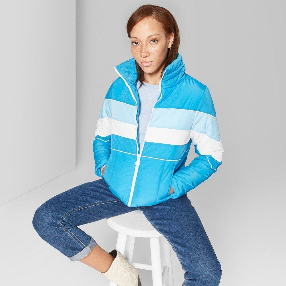 Women S Color Blocked Puffer Jacket Wild Fable Aegean S Blue Puffer Jackets Wild Fable Jackets [ 1000 x 1000 Pixel ]