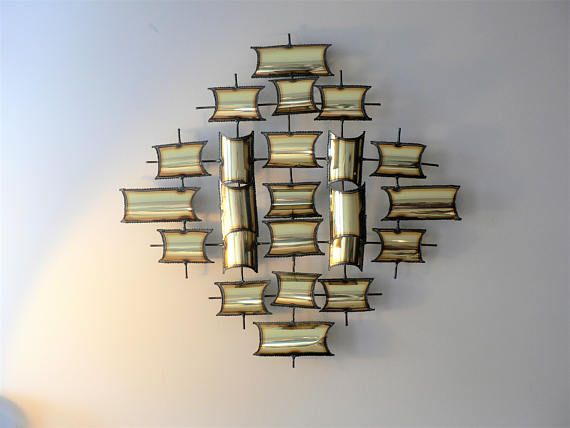 Vintage 70's Brutalist Metal Wall Sculpture in the Style