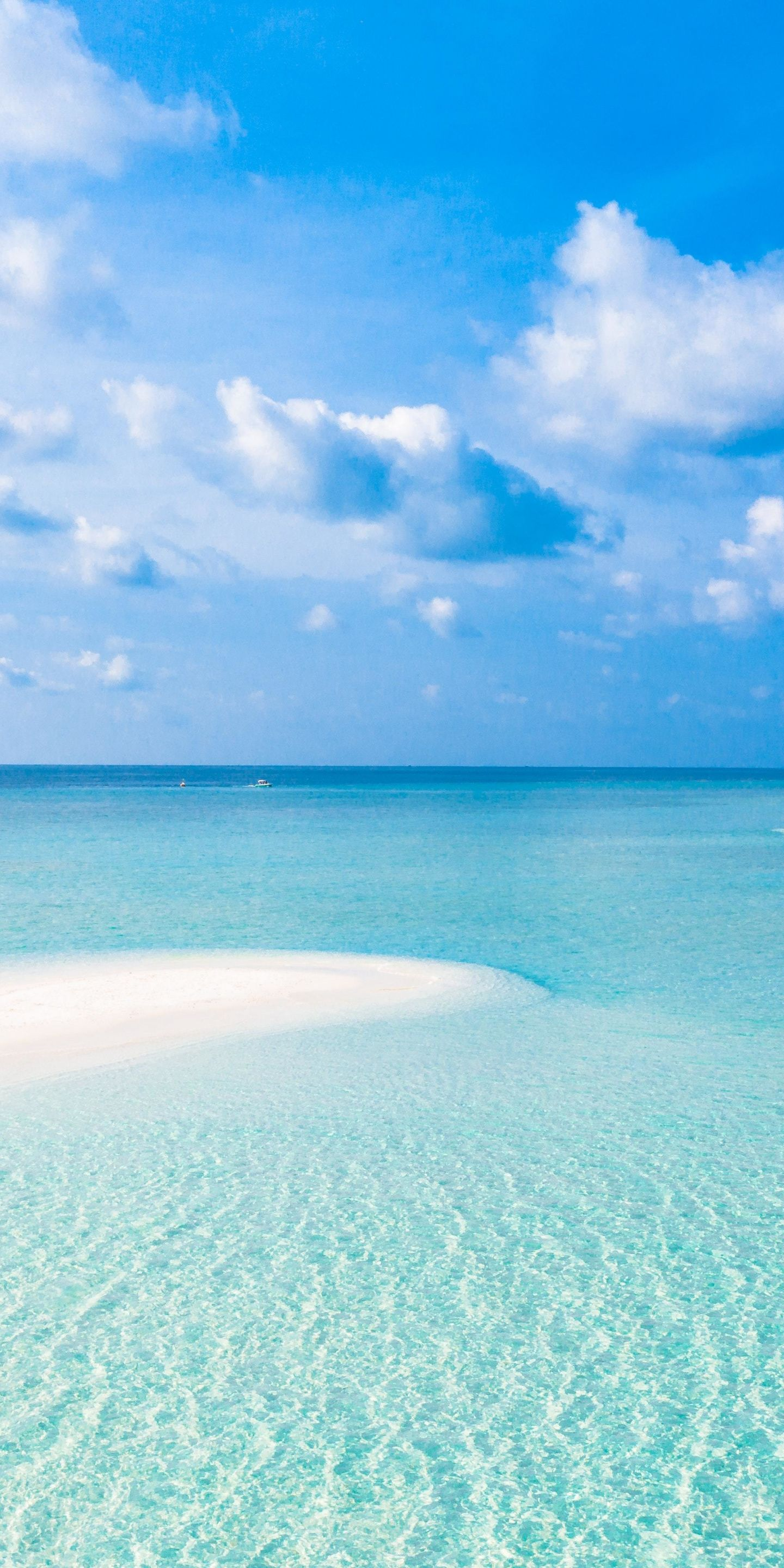 1440x2880 Tropical Beach Sea Sunny Day Blue Sky Nature Wallpaper Blue Sky Wallpaper Sky Aesthetic Beautiful Beach Pictures